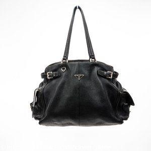 Prada Bags - PRADA Vitello Daino Leather Buckle Satchel Bag